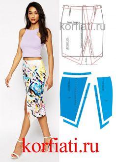 Pattern of women's clothing from Anastasia Korfiati Skirt Patterns Sewing, Clothing Patterns, Diy Clothing, Sewing Clothes, Diy Rock, Modelista, Pattern Fashion, Dressmaking, Diy Fashion
