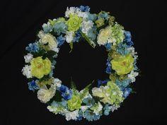 Lime Green Light Blue Silk Floral Wreath Front by wreathsbyrobin, $35.00