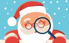 Download wallpapers Santa Claus, 4k, 2018, New Year, winter, 2d santa, art