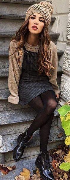 #winter #fashion /  Tan Knit + Black Sleeveless Dress + Tan Beanie