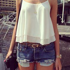 white skirt and blue denim jeans