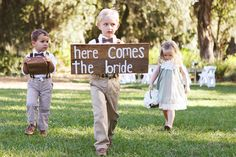 here comes the bride flower girl and ring bearer hand painted sign, cross creek ranch, florida, southern wedding