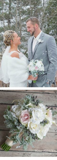 A beautiful rose and dusty miller silk wedding bouquet - perfect for a winter wedding! By Kate Said Yes Weddings.
