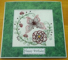 complete embroidered Birthday card Beautiful Butterfly and Carnation