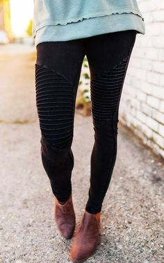 Super cute black mineral wash moto leggings with elastic waistband. Made to be fitted with a lot of stretch, the model is shown wearing a size small. Black Moto Leggings, Moto Pants, Spring Summer Fashion, Autumn Winter Fashion, Winter Style, Leggings Outfit Winter, Dottie Couture, Clothes Horse, Winter Outfits
