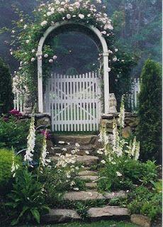 Rose arbor leading to separate garden room. Moon Garden, Dream Garden, Garden Yard Ideas, Lawn And Garden, Amazing Gardens, Beautiful Gardens, Night Blooming Flowers, Rose Arbor, Garden Arches