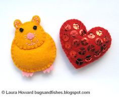 For Henry:  How To: Make a Mini Felt Hamster ( and heart and cactus ).  Ornament?   Template