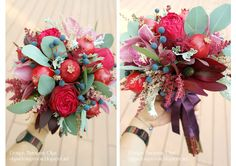 Baiciurina Olga's Design Room: Потрясающий букет невесты на винно-гранатовую свадьбу!-Gorgeous wine&pomegranate themed wedding bouquet! Pomegranate, Wedding Bouquets, Christmas Wreaths, Wine, Holiday Decor, Home Decor, Granada, Decoration Home, Wedding Brooch Bouquets
