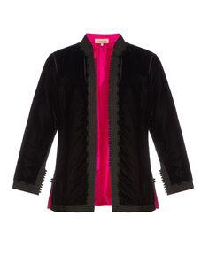 Sharifa mandarin-collar velvet jacket by Muzungu Sisters   Shop now at #MATCHESFASHION.COM