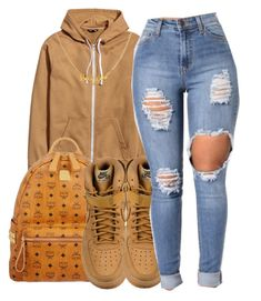 """""""School"""" by maiyaxbabyyy ❤ liked on Polyvore featuring MCM and NIKE"""