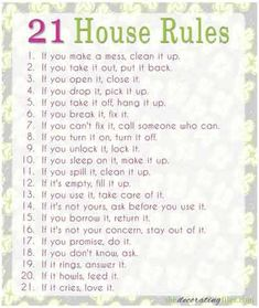 21 House rules...do these apply in your household? www.facebook.com/Cubbykraft