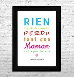 Affiche A4 : Citation sur les Mamans (couleur) : Affiches, illustrations, posters par mes-jolies-phrases