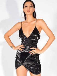 Fashion Tips For Women Life Asymmetrical Hem Zip Detail PU Cami Dress Satin Cami Dress, Tube Dress, Fashion Quotes, Fashion Tips, Leder Outfits, Metallic Dress, Leather Dresses, Sleek Look, Spaghetti Strap Dresses