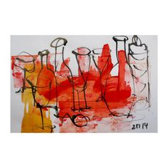 Bottles   Original Drawing with colored Ink and by Kunstmuellerei, €27.00