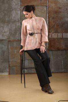 Купить Валяный жакет-кимоно «Утренняя роза» - белый, валяный жакет, авторская работа