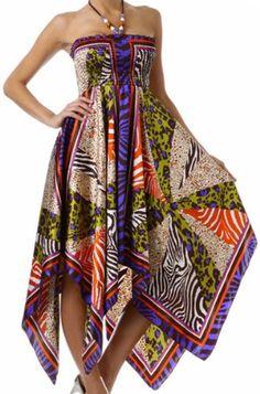 Sakkas Women's Animal Print Beaded Halter Smocked Handkerchief Hem Dress on hotgirlsclothes.com