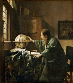The Astronomer  (De astronoom)  1668 oil on canvas 19 3/8 x 17 3/4 in. (50 x 45 cm.) Musée du Louvre, Paris