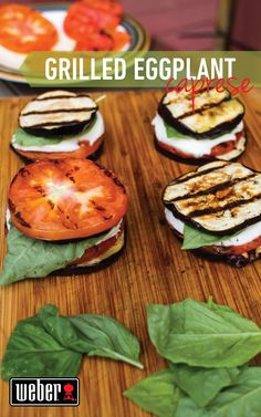 Healthy eggplant caprese salad made on the grill!