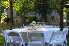 Real Shower :: Backyard Baby-Q Bash :: Tables with Burlap
