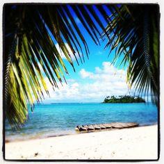 Tropical beach on Rarotonga, Cook Islands