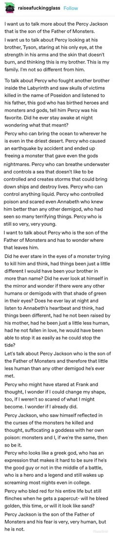 Dark Percy is there. We just don't look close enough Dark Percy is there. We just don't look close enough Percy Jackson Memes, Percy Jackson Books, Percy Jackson Fandom, Solangelo, Percabeth, Oncle Rick, Rick Riordan Books, Heroes Of Olympus, Book Fandoms