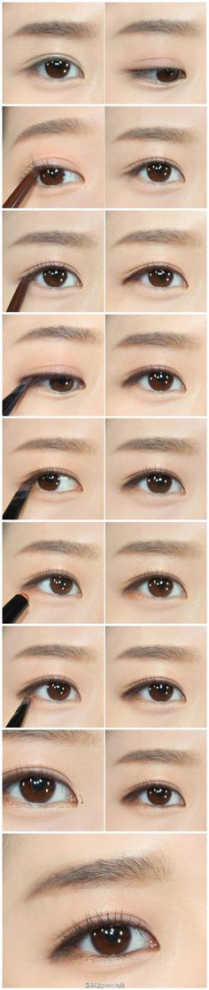 Tutorial- Tutorial iu eye make up - Korean Natural Makeup, Korean Makeup Tips, Asian Eye Makeup, Natural Eyeliner, Skin Makeup, Beauty Makeup, Eyeliner Makeup, Nerd Makeup, Drugstore Makeup