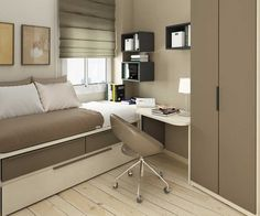 Light brown small bedroom ideas with single bed with drawer equipped with small study table design and chair plus wooden shelves wall for book, and slim wardrobe closet furniture