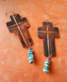Copper cross earrings!!!  Love