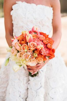 Coral and Yellow Wedding bouquet