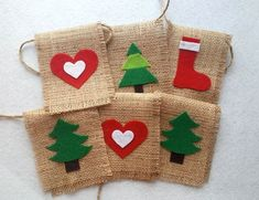 Felt Christmas/New Years/Noel Garland - With Trees,Stockings,Hearts on Burlap / Banner / Home Decor / Rustic Garland / Burlap Bunting Burlap Bunting, Burlap Garland, Felt Garland, Hessian, Burlap Ornaments, Christmas Bunting, Felt Christmas Decorations, Christmas Sewing, Christmas Ornaments