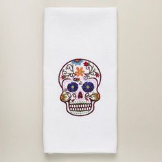 Dia De Los Muertos Embroidered Skull Kitchen Towel