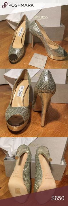 JIMMY CHOO champagne Dahlia Pumps Brand new in box and NEVER worn! Stunning champagne/silver glitter fabric. Made in Italy. 1in platform and full length of heel is 4.5 in.  Comes with box and storage bag! Open to offers!! Jimmy Choo Shoes Heels
