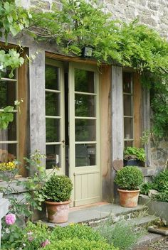 think these are cute doors to lead from like a bedroom to back yard/ courtyard / garden area!