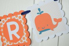 Whale Name Banner Birthday Banner Nautical Baby by lisamarDesigns, $18.00