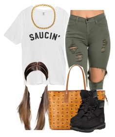 """Bouta to start off this year with a bang"" by trillest-queen ❤ liked on Polyvore featuring MCM and Timberland"