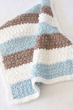 Crochet Afghans, Crochet Baby Blanket Free Pattern, Bernat Baby Blanket, Crochet For Beginners Blanket, Blanket Yarn, Crochet Motifs, Baby Boy Blankets, Crocheted Baby Blankets, Chunky Blanket