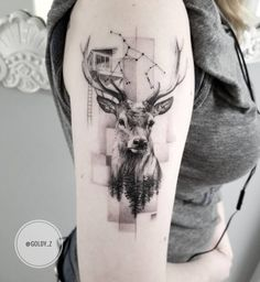State-of-the-art Fine Line Realistic Tattoos by Zlata Kolomoyskaya - awesome fine line deer tattoo © tattoo artist Zlata Kolomoyskaya 💓💓💓💓💓💓 - Fine Line Tattoos, Body Art Tattoos, Sleeve Tattoos, Hirsch Tattoo Frau, Cervo Tattoo, Tattoo Geometrique, Redwood Tattoo, Karten Tattoos, Animals Tattoo