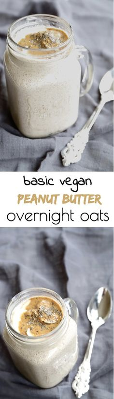 Enjoy a healthy breakfast even on busy weekday mornings with these Basic Peanut Butter Overnight Oats. Quick, simple and delicious. Quick Healthy Breakfast, Make Ahead Breakfast, Healthy Breakfast Recipes, Healthy Snacks, Peanut Butter Overnight Oats, Peanut Butter Roll, Overnight Oatmeal, Oats Recipes, Baking Recipes