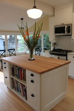 kitchen island with bookcase IKEA inspired