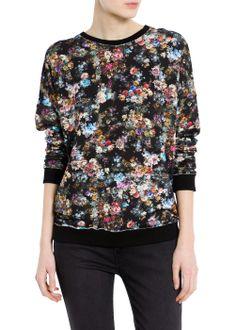 MANGO WOMAN Distressed floral sweatshirt