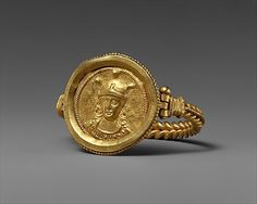Bracelet with Bust of Roma  Date: 400–450 Geography: Made in, Rome Culture: Byzantine Medium: Gold
