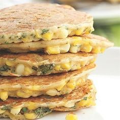 Corn & Basil Cakes - EatingWell.com.  Cut basil by 1/2.  Sounds good and different!