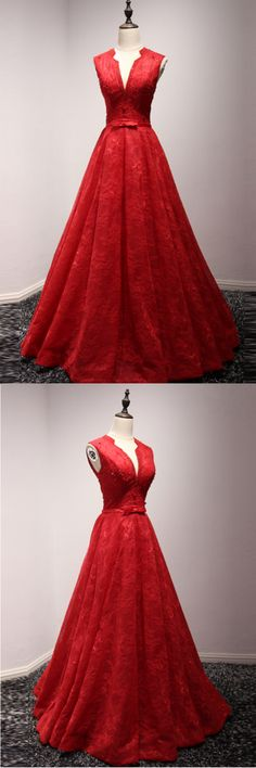 Red lace V neckline long A-line winter formal prom dress with bow