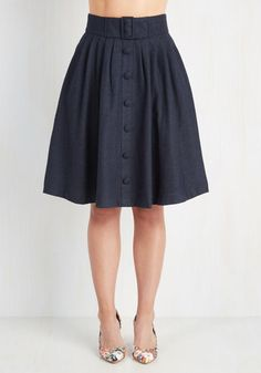 Intern of Fate Skirt in Navy by ModCloth - Blue, Solid, Buttons, Pleats, Belted, Work, 70s, Scholastic/Collegiate, Full, Fall, Woven, Better, Long, Pockets, Vintage Inspired, Variation