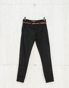 BSK belted chinos - Trousers - Bershka United Kingdom