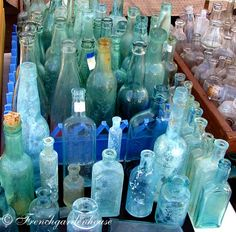 A variety of vintage bottles. The source of a lot of sea glass