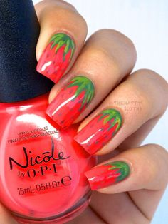 Strawberry Manicure: Strawberry Nail Art Design - The Happy Sloths