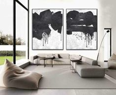 Set Of 2 minimalist art on canvas, hand painted black and white painting from CZ ART DESIGN, for minimalist home and modern interiors. contemporary art Set of 2 Minimal Art Contemporary Abstract Art, Contemporary Home Decor, Black And White Painting, White Art, Black Art, Acrylic Painting Canvas, Canvas Wall Art, Painting Art, Paintings