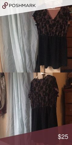 Maurice's dress Great party dress. Plus size 1 (xxl). Black with pink underlay on top. Never worn, but washed. Maurices Dresses