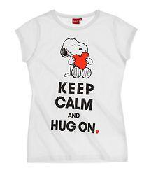 Damen T-Shirt weiß mit Aufdruck Snoopy Lizenzartikel Gr. XS Gr. 158/164